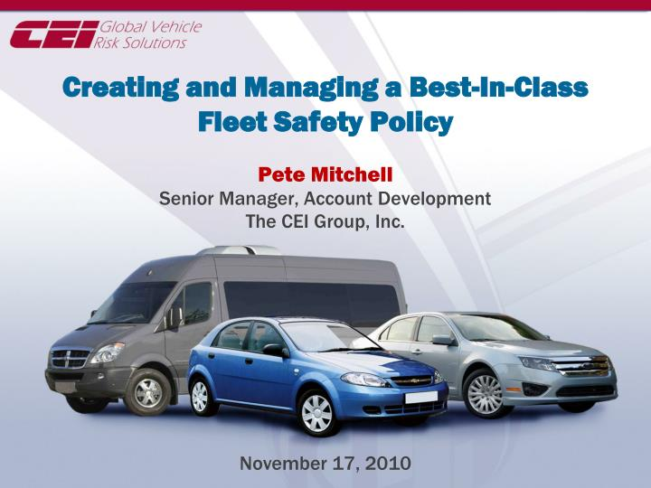 creating and managing a best in class fleet safety policy