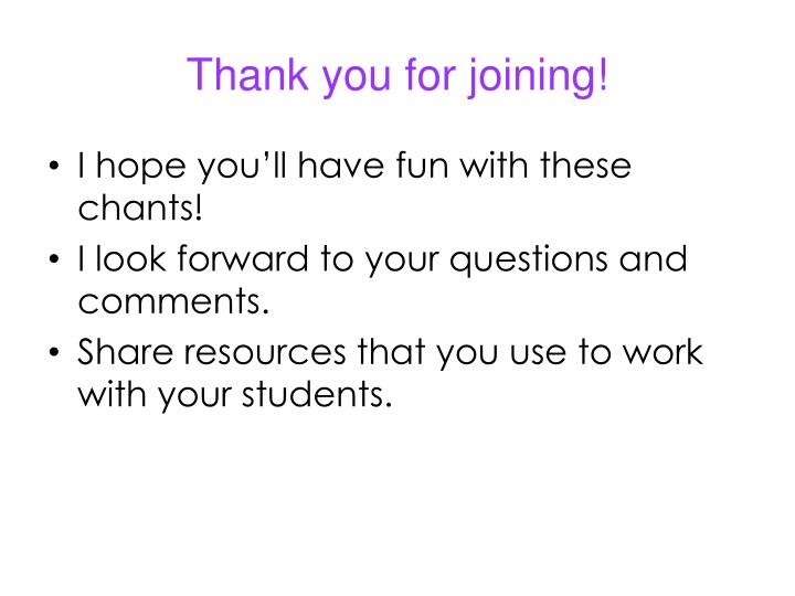 Thank you for joining!
