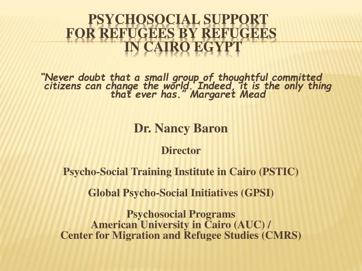 psychosocial support for refugees by refugees in cairo egypt n.