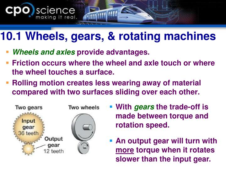 10.1 Wheels, gears, & rotating machines