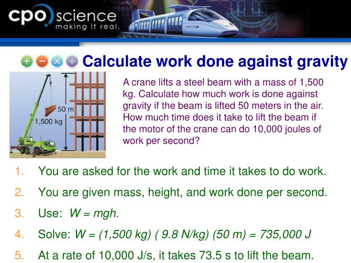 Calculate work done against gravity