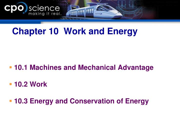 Chapter 10  Work and Energy