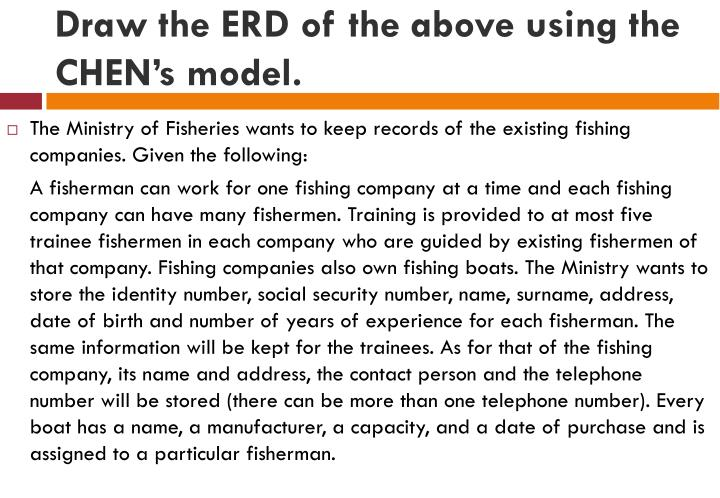 Draw the ERD of the above using the CHEN's model.