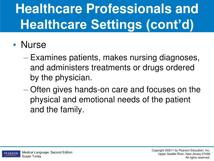 Healthcare Professionals and Healthcare Settings (cont'd)