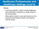 healthcare professionals and healthcare settings cont d2