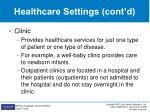 healthcare settings cont d2