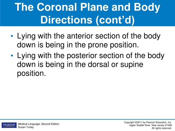 The Coronal Plane and Body Directions (cont'd)