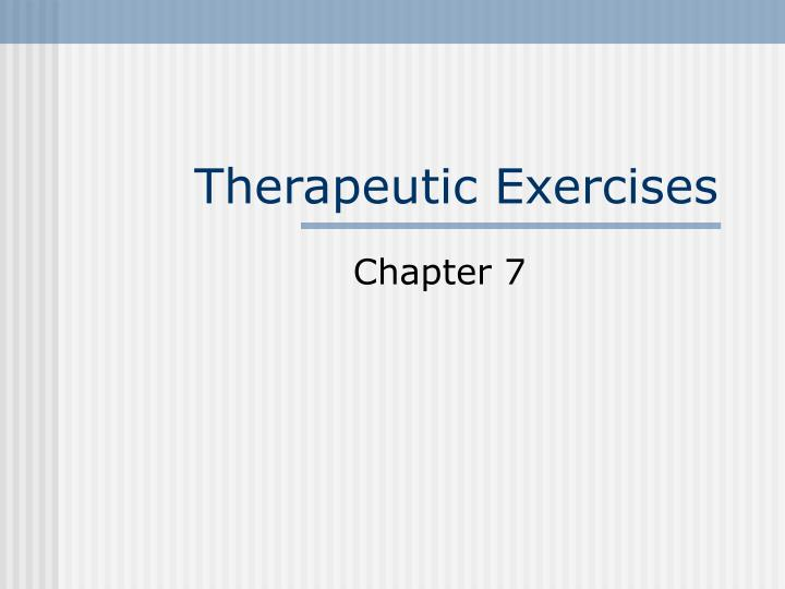 therapeutic exercises n.