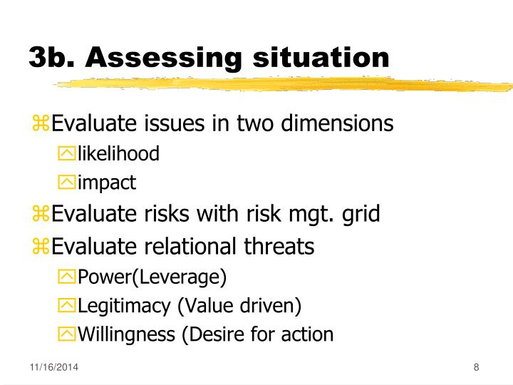 3b. Assessing situation