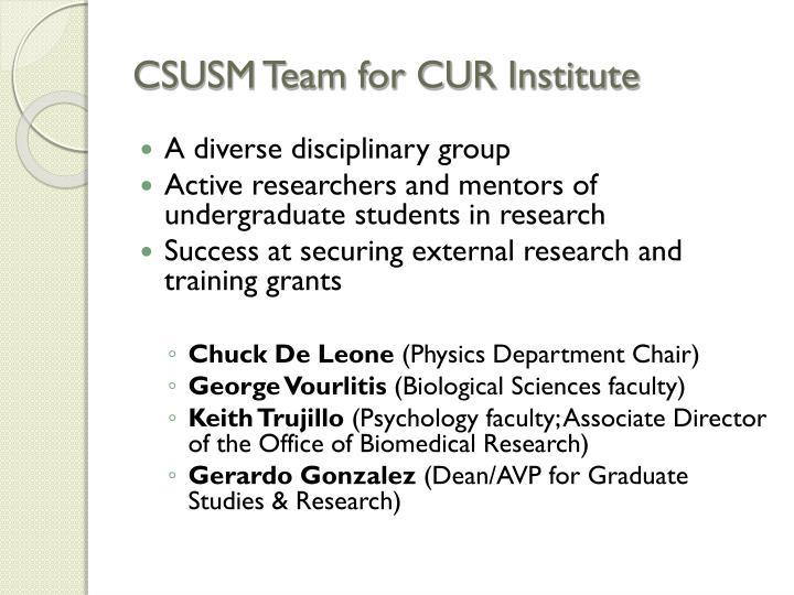 CSUSM Team for CUR Institute