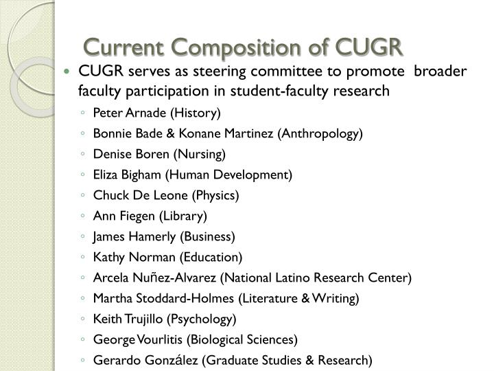 Current Composition of CUGR