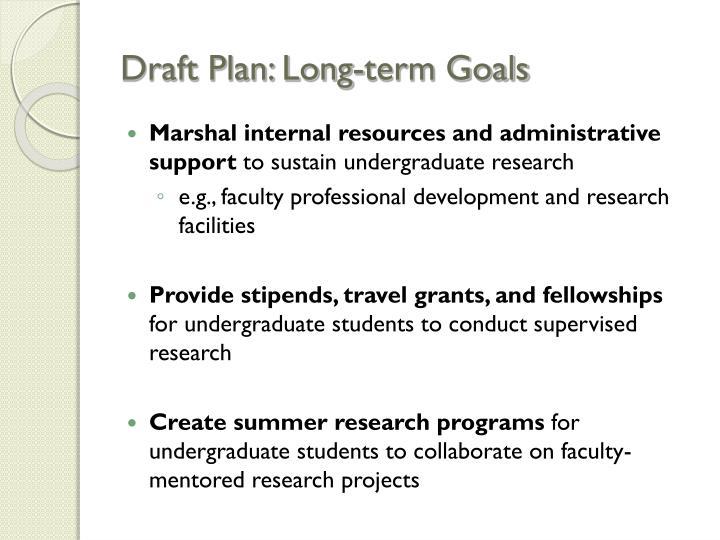 Draft Plan: Long-term Goals