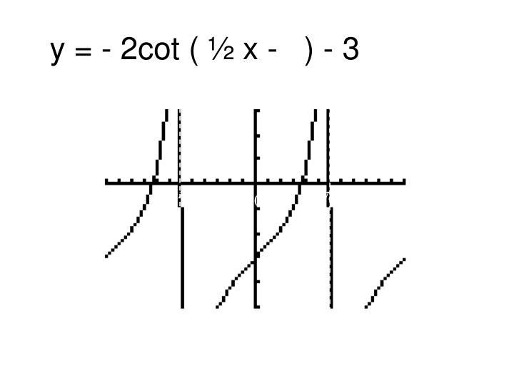 y = - 2cot ( ½ x -   ) - 3