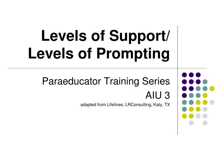 Levels of support levels of prompting