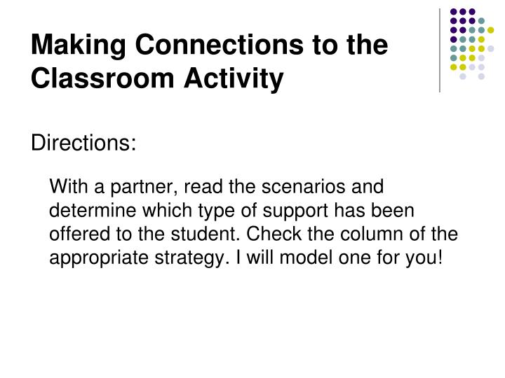 Making Connections to the Classroom Activity
