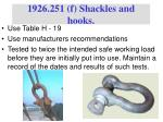 1926 251 f shackles and hooks