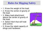 rules for rigging safety