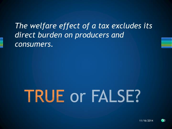 The welfare effect of a tax excludes its direct burden on producers and consumers.