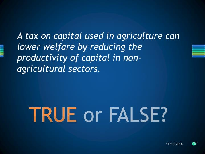 A tax on capital used in agriculture can lower welfare by reducing the productivity of capital in non-agricultural sectors.