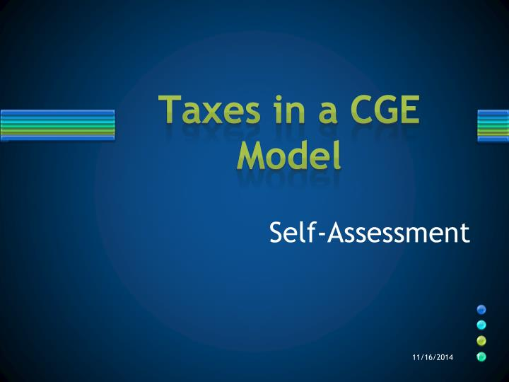 Taxes in a cge model