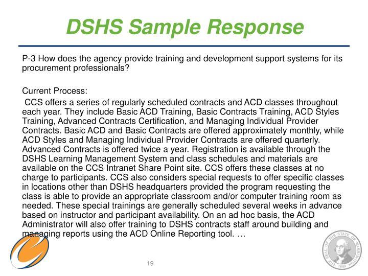DSHS Sample Response