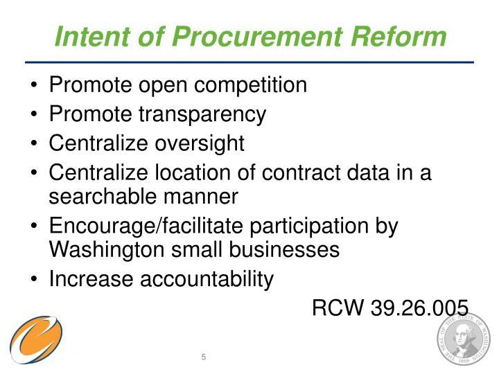 Intent of Procurement Reform