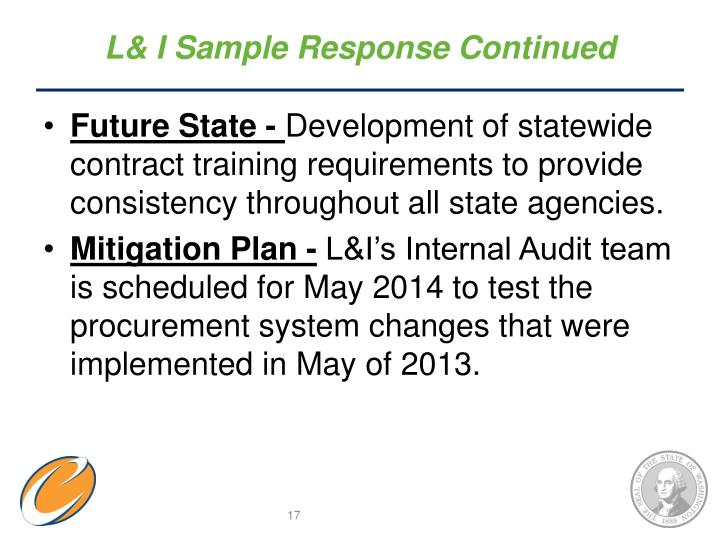 L& I Sample Response Continued