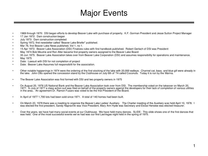 major events n.