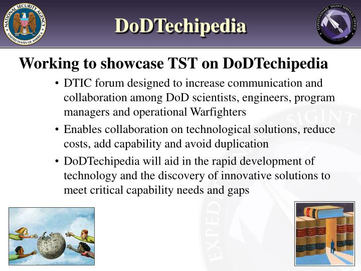 Working to showcase TST on DoDTechipedia