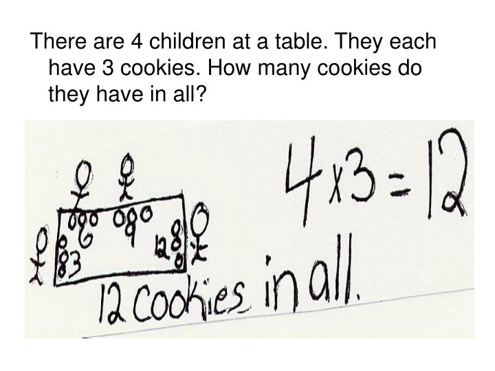 There are 4 children at a table. They each have 3 cookies. How many cookies do they have in all?