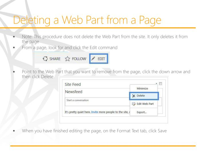Deleting a Web Part from a Page