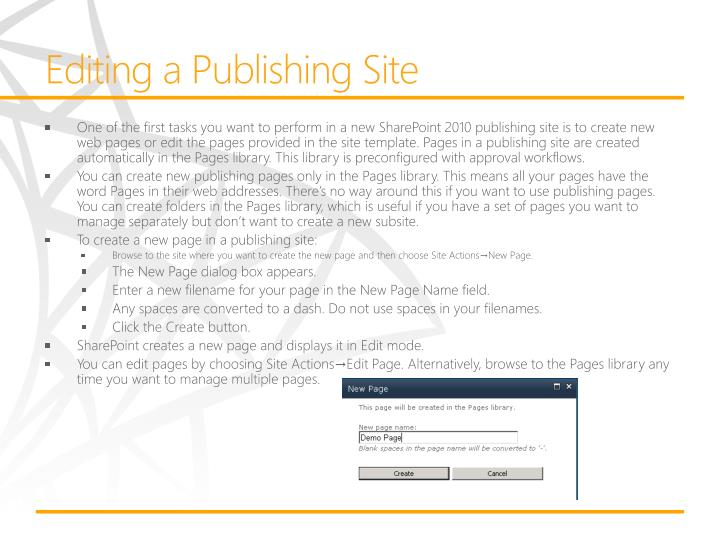 Editing a Publishing Site