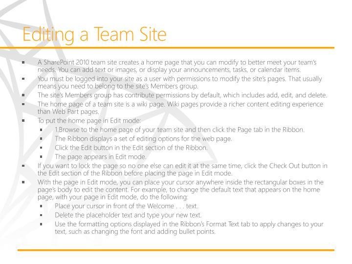 Editing a Team Site