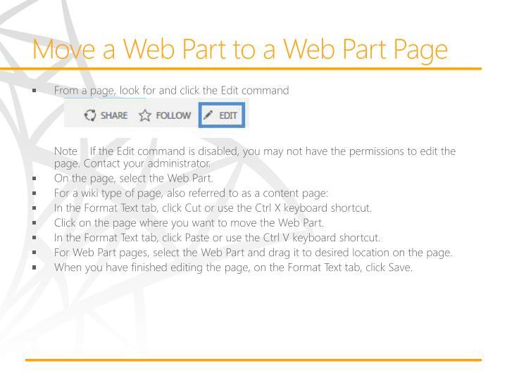 Move a Web Part to a Web Part Page