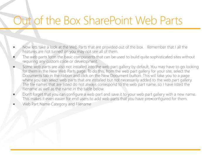 Out of the Box SharePoint Web Parts