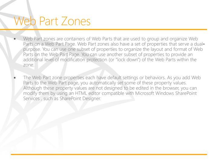 Web Part Zones
