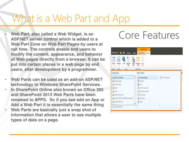What is a Web Part and App
