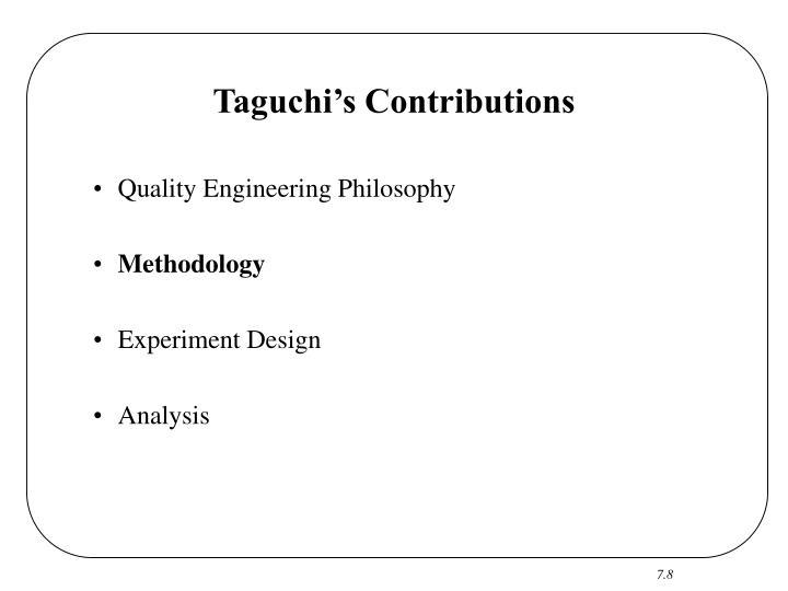 Taguchi's Contributions