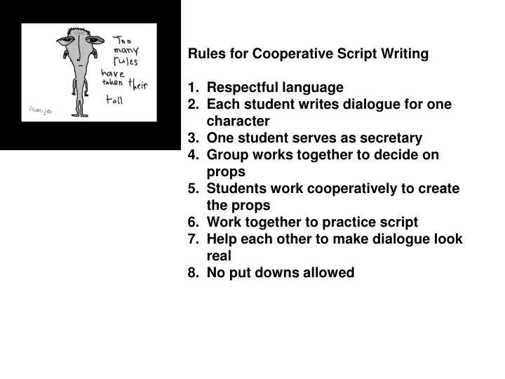 Rules for Cooperative Script Writing