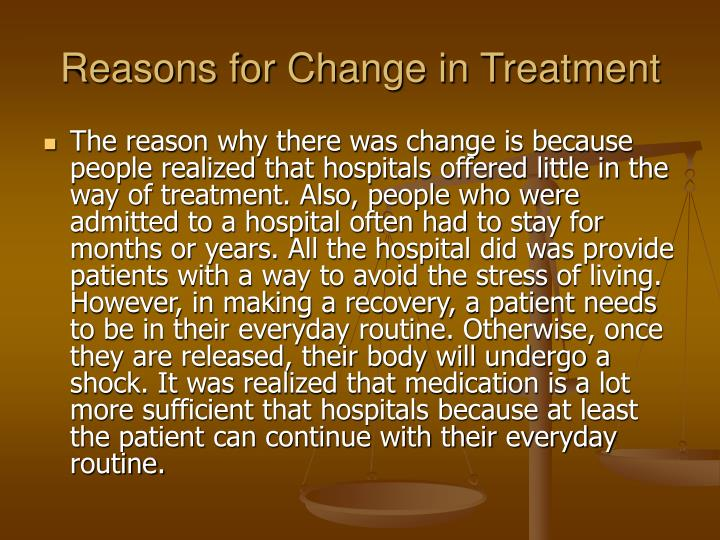 Reasons for Change in Treatment