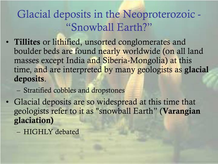 "Glacial deposits in the Neoproterozoic - ""Snowball Earth?"""