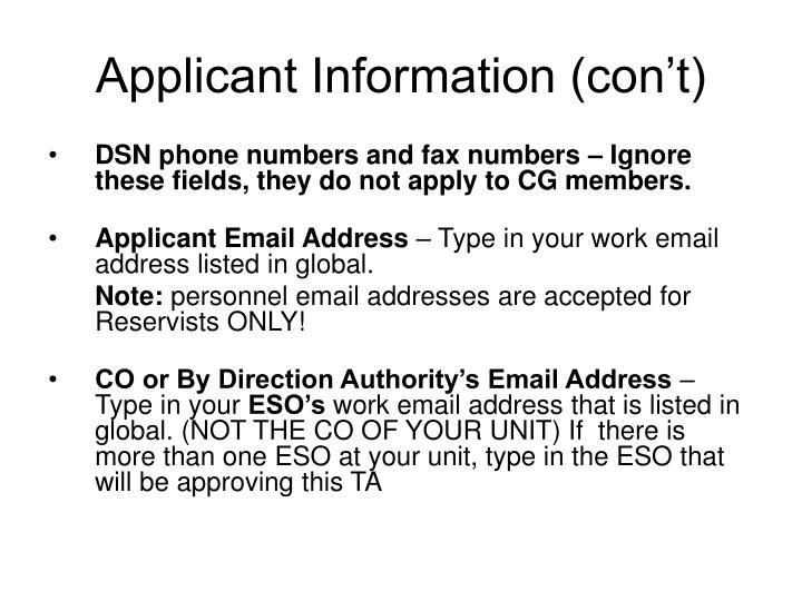 Applicant Information (con't)