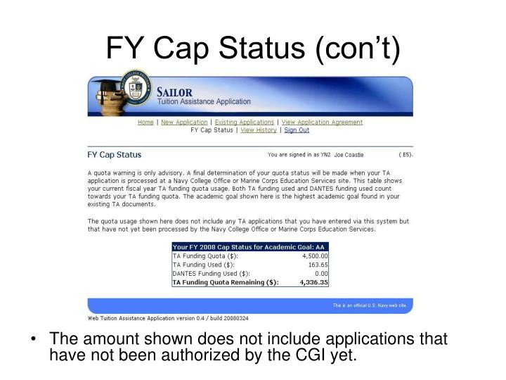 FY Cap Status (con't)