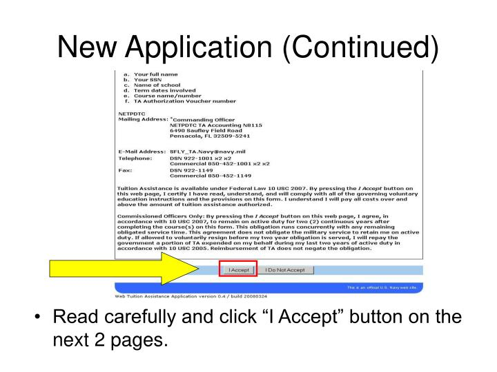 New Application (Continued)
