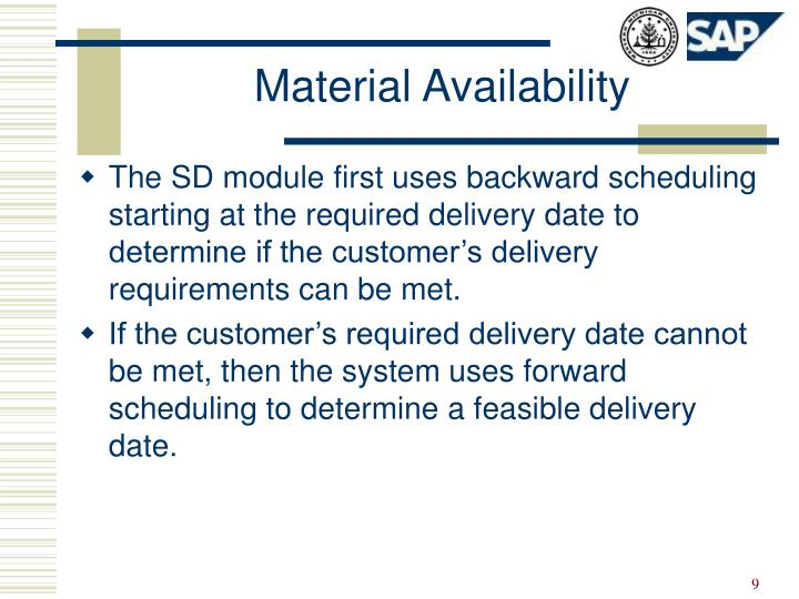 Material Availability