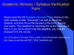 academic honesty syllabus verification form