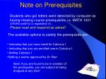 note on prerequisites