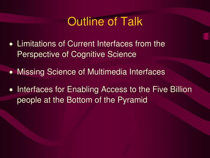 Outline of talk1