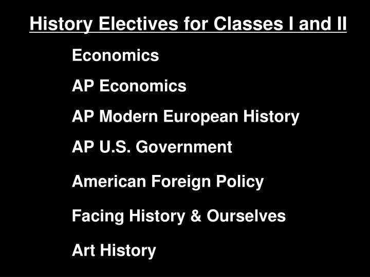 History Electives for Classes I and II