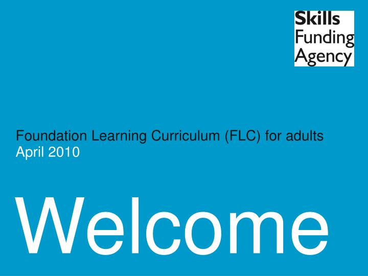 Foundation Learning Curriculum (FLC) for adults